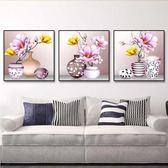 十字繡小幅三聯畫客廳 臥室簡約 花卉玉蘭花瓶餐廳小畫線繡WY 年貨慶典 八折