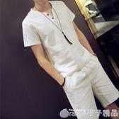 夏季中年運動套裝男爸爸裝潮流韓版棉麻衣服休閒亞麻短袖短褲兩件      橙子精品