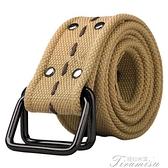 皮帶 戶外帆布腰帶百搭加厚加長編織雙環扣皮帶休閒帆布皮帶軍裝工裝褲 快速出貨