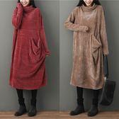 韓版簡約大尺碼胖MM200斤百搭薄呢寬鬆堆堆領長袖T休閒洋裝連衣裙洋裝 快速出貨