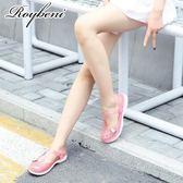 夏季韓版瑪麗珍果凍沙灘洞洞鞋女平底防滑包頭拖鞋護士鞋塑料涼鞋