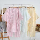 全館83折 春秋季日式睡衣純棉情侶睡衣夏天薄款和服月子服男女浴衣家居套裝