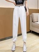 休閒運動褲 白色褲子2021新款薄款顯瘦高腰闊腿西裝褲女直筒寬松束腳休閑褲夏
