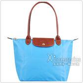 Longchamp 經典摺疊款式長提把水餃包(水藍/小)