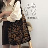 chic韓系燈芯絨面呢單肩帆布包購物袋女