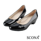 SCONA 全真皮 簡約OL舒壓跟鞋 黑漆色 9937-2