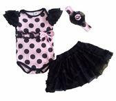 貝比幸福小舖【13199】歐美可愛小公主套裝/女童包屁衣+紗紗裙+花樣頭飾 一套-款式014