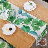 桌巾現代簡約客廳茶几美式田園北歐電視櫃小清新餐桌棉麻綠色植物桌旗