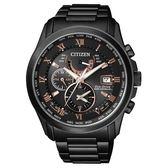【送米奇電扇】CITIZEN 光動能電波萬年曆腕錶-黑x玫瑰金時標/43mm AT9085-53E
