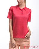 夢特嬌短袖POLO衫 亮絲系列女款優雅純色花紋-紅色