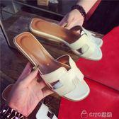 拖鞋女夏時尚外穿百搭平底沙灘海邊沙灘鞋一字拖涼拖鞋室外h  ciyo黛雅