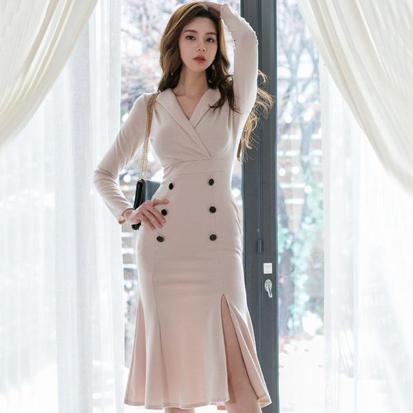VK旗艦店 韓系性感顯瘦V領包臀魚尾禮服裙長袖洋裝