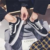 男鞋子潮鞋夏季港風萬斯能帆布鞋男生低筒百搭韓版休閒滑板鞋男士