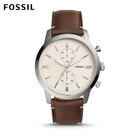 FOSSIL Townsman 城區計時大錶面皮革手錶 男 FS5350