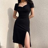 歐美INS復古宮廷風側開叉方領洋裝女性感抽褶顯瘦黑色禮服長裙 【ifashion·全店免運】