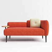 林氏木業北歐小戶型左扶手雙人布沙發 S026-橘紅色