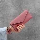 新款簡約女士錢包女長款三折錢夾軟皮流蘇學生韓版可愛【免運快出】