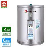 SAKURA櫻花 琺瑯內桶不鏽鋼儲熱式電能熱水器8加崙 EH0800S6 ~ 含標準安裝