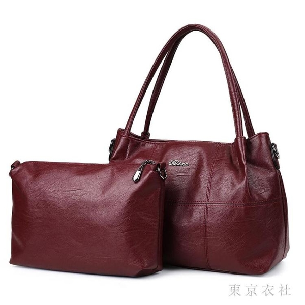單肩手提包新款女士子母包拼接媽媽包斜挎包休閒軟包仿真皮質感 QQ28974『東京衣社』
