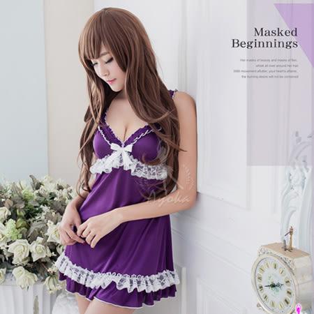 迷紫蕾絲柔緞面睡衣 性感內衣 居家服內【SV8192】快樂生活網