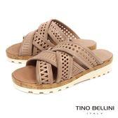 Tino Bellini義大利進口造型鞋帶交錯厚底涼拖鞋_ 膚 A73028 歐洲進口款