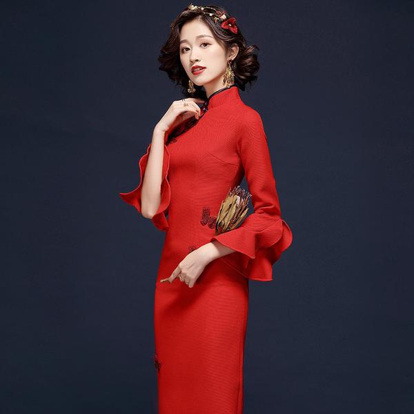 (現貨+預購 RN-girls)-精品蝴蝶改良式旗袍長袖洋裝