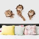 3D立體視覺可愛小貓貼畫臥室寢室壁紙宿舍大學生牆貼創意裝飾貼紙 YDL