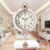 掛鐘歐式田園擺鐘客廳靜音掛鐘美式裝飾墻鐘時尚鐘錶創意石英鐘 【好康免運】