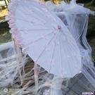 道具傘 原創櫻花粉古裝漢服cos珠簾飄帶裝飾拍攝長柄雨傘 百分百