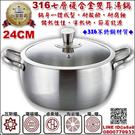 316不銹鋼七層合金雙耳湯鍋(24cm)...