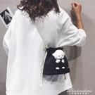可愛小羊帆布包包女2020新款潮ins百搭卡通水桶包學生側背斜背包 黛尼時尚精品