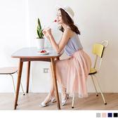 《CA741》腰圍鬆緊不規則剪裁飄逸紗裙.4色 OrangeBear