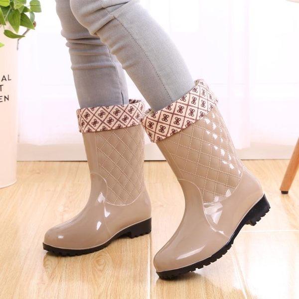 現貨出清女士雨鞋中筒保暖暖雨鞋套加絨雨靴防滑女式水鞋高筒加棉膠鞋 城市玩家