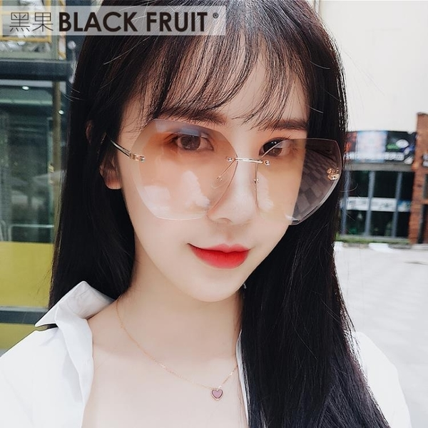 無框多邊形切邊茶色墨鏡女漸變圓臉防紫外線 ☸mousika