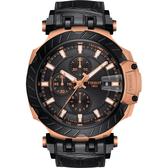 TISSOT 天梭 T-RACE 計時機械錶-玫瑰金/45mm T1154273705101