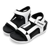 PLAYBOY 網布拼接 厚底休閒涼鞋-白(Y5288白)