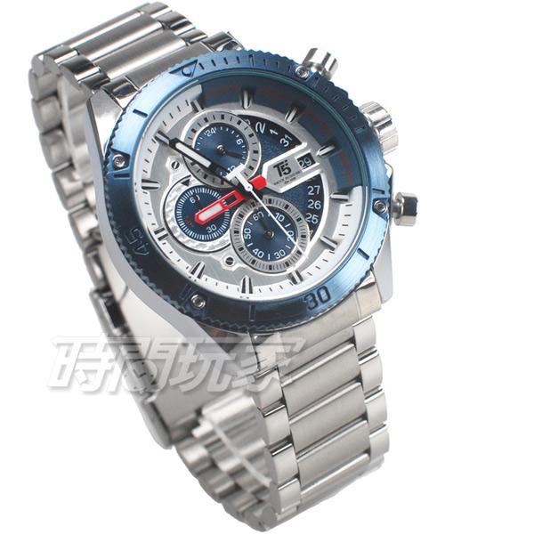 T5 sports time 三眼計時碼表 賽車錶 個性 潮男 學生錶 防水手錶 日期視窗 男錶 H3642銀藍