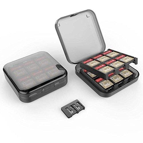 【玩樂小熊】Switch主機 NS 美國進口GameWill 24入遊戲卡盒 24枚 卡帶盒 可收納2枚TF卡 黑色款