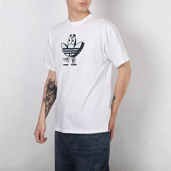 ADIDAS 短袖 白 藍 三葉草 娃娃LOGO 短袖T 男(布魯克林) GJ2685