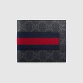 【雪曼國際精品】GUCCI藍紅織帶PVC LOGO二折零錢袋對開短夾(深灰) 408826 KHN4N 1095─全新品現貨