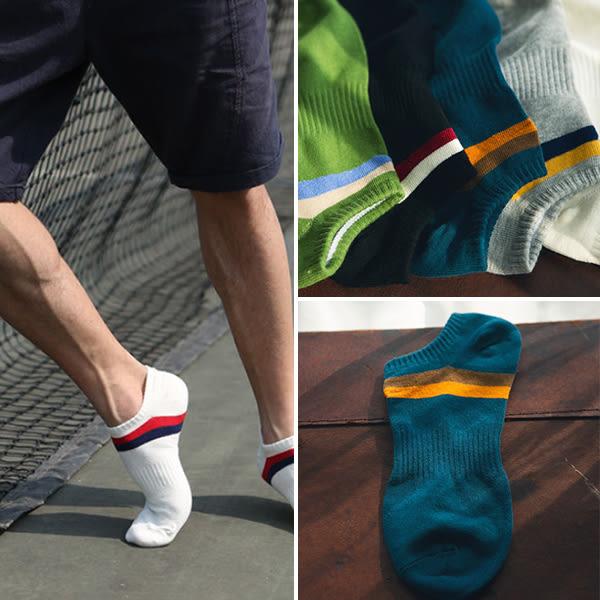 襪子 英倫時尚條紋運動男款船型襪 休閒 簡約 舒適  天然優質面料 柔軟    【FSM023】-收納女王