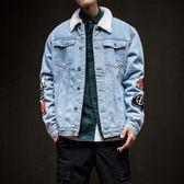 秋季加絨休閒牛仔夾克男士加肥大碼寬鬆外套秋裝韓版潮流男裝     ciyo黛雅
