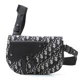 ■專櫃99折■ 全新真品■Dior 迪奧米色和黑色Oblique 緹花 Saddle 小款馬鞍胸前袋/腰包
