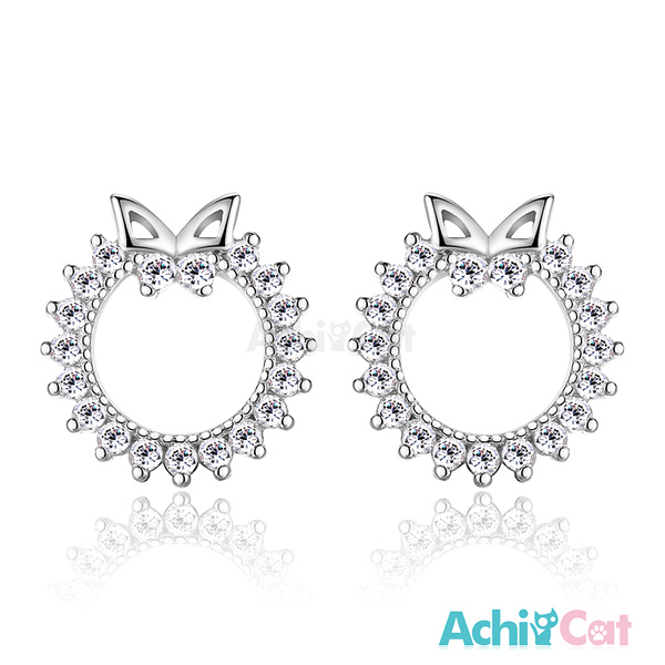 AchiCat女款小耳釘925純銀耳環耳針式 璀璨花圈 蝴蝶 韓版迷你(銀色款單副)GS5045