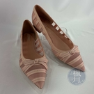 BRAND楓月 TORY BURCH TB 粉紅色 裸粉色 半透明 鏤空 緞帶蝴蝶結 低跟鞋 尖頭鞋 美規#6