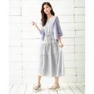 春夏出清3折[H2O]多層次蛋糕裙附本布綁帶長洋裝 - 黑/灰/淺紫色 #0684008