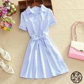 夏裝新款韓版時尚藍條紋短袖收腰蝴蝶結連衣裙女小清新中長款裙子短袖洋裝·黑色地帶