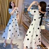 雪紡洋裝 白色方領大波點洋裝女夏季露背雪紡過膝長裙法式高腰顯瘦復古裙