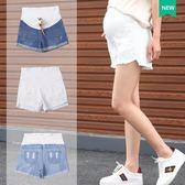 孕婦牛仔短褲女夏季薄棉質孕婦夏裝打底褲牛仔褲托腹外穿潮媽 免運費