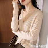 春秋季款開衫女外套針織單排扣毛線衣寬鬆韓版慵懶風v領上衣
